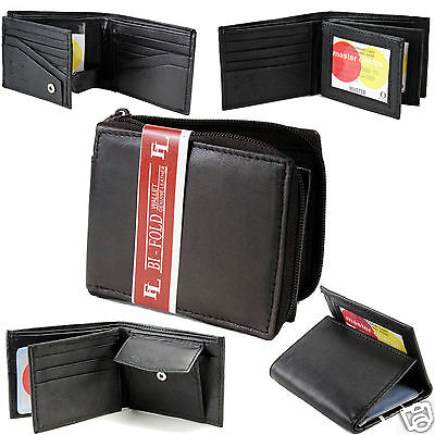 New Mens Bifold Trifold Genuine Leather Wallet Card Case ID Holder Multi Pocket
