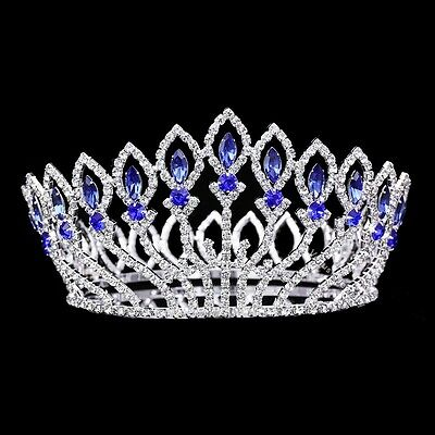 Bridal Pageant Blue Rhinestones Crystal Prom Wedding Tiara Full Crown 81021