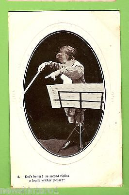 #e.    1908 Postcard -  Young  Boy Orchestra Conductor