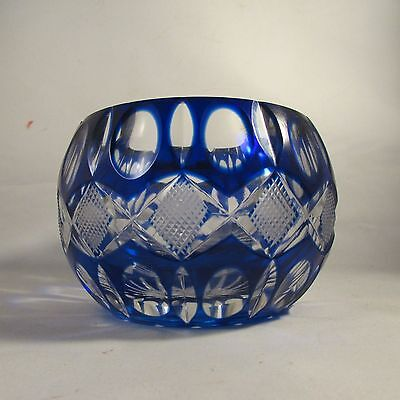 Czech Bohemian Cobalt Glass Bowl Ashtray Vase?? Vintage  Heavy Crystal