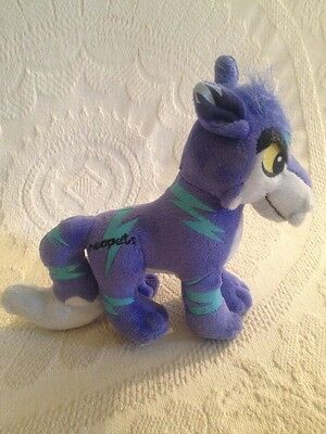 "7"" Neopet Electric Lupe Cobalt Blue Wolf Plush Plushie Stuffed Toy VGUC 2008"