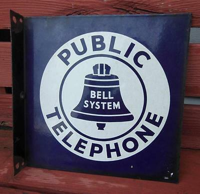 Vintage Bell System Public Telephone Flange Porcelain Advertising Sign Double