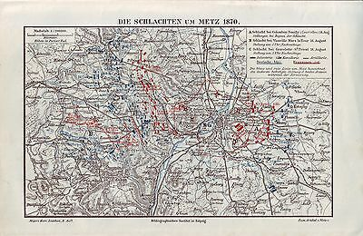 BATTLE OF METZ 1870 WAR FRANCE - PRUSSIA GERMANY Antique Map of 1880+