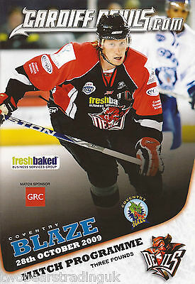 CARDIFF DEVILS v COVENTRY (Elite Ice Hockey League Cup 28.10.2009) Programme