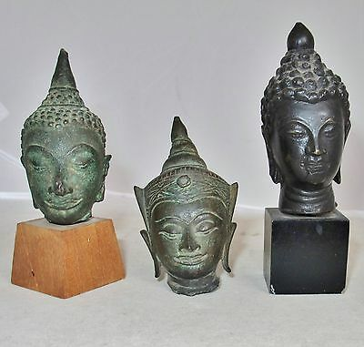 """3 Antique Chinese, Tibetan or South Asian Bronze Buddha Heads  (4.15"""" to 3.1"""")"""