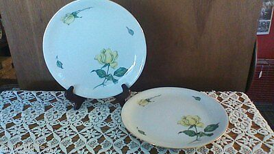 "4 KPM Krister GERMANY 674 Pattern Yellow Rose 9 1/"" Dinner Plates MINT!"