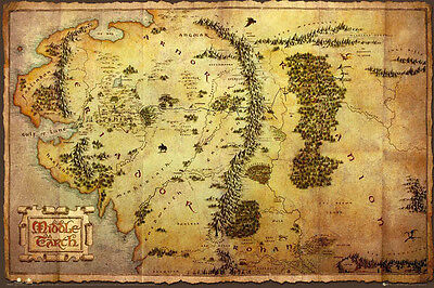 """The Hobbit Map LAMINATED POSTER """"Middle Earth Lord Rings"""" BRAND NEW Licensed Art"""