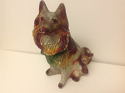 Antique Hand Painted Chalkware Plaster COLLIE DOG Figurine 1900's Signed