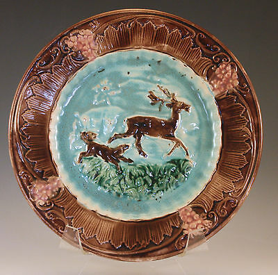 """Antique Majolica Dog Chasing Deer, Running Stag 8"""" Plate  Brown Blue - Very Rare"""