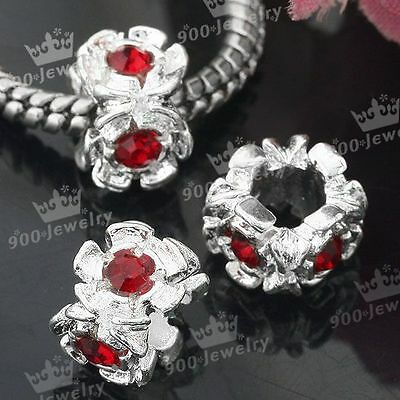 5PC Silver Plated Red Rhinestone Flower European Large Hole Bead Fit Bracelet