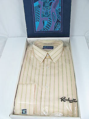 """Original Vintage Boxed Rochester Polyester/cotton Mens Striped Shirt -16.5"""""""