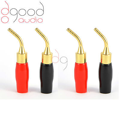 4 x Gold Plated Angled Speaker Pins 2mm Banana Plug Quality Terminal Connectors