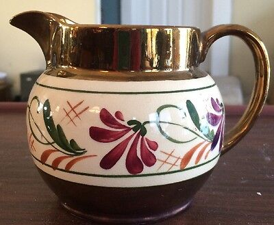Vintage 1950's WADE HEATH POTTERY Daisy Copper Luster Milk Pitcher ~ England
