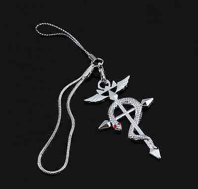 Fullmetal Alchemist Elric's Flamel Cross Symbol + Red Crystals Cell Phone Charm