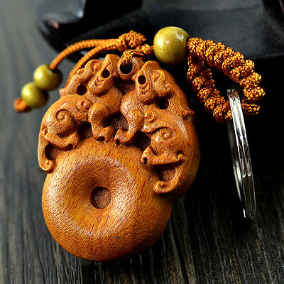 Feng Shui Peach Wood double Pi Yao Pi Xiu Xie Key Ring Chain hanging for Wealth