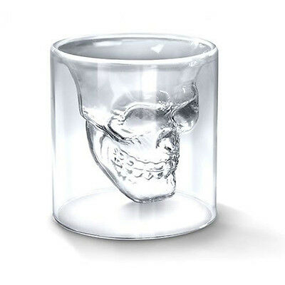 Empty Crystal Skull Head Design Shot Glass Cup Drinking Ware for Home Bar Party