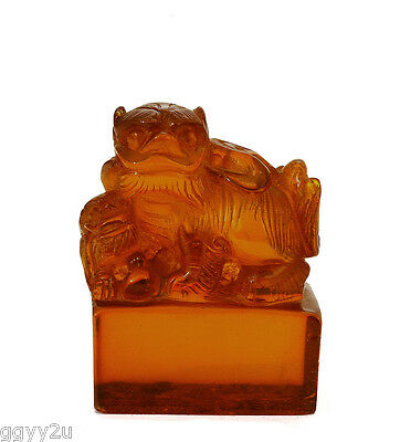 19C Chinese Natural Amber Carved Fu Dog Lion Seal Chop for Scholar