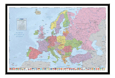 Political Map Of Europe Poster With Flags  Magnetic Notice Board Black Framed