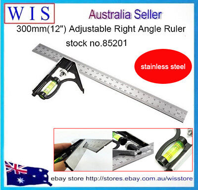 300mm Adjustable Engineers Combination Try Square Set Right Angle Ruler Level