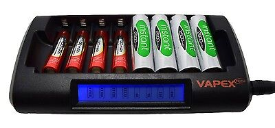 Fast Smart Charger for 1 - 8 AA or AAA NiMH batteries LCD display Vapextech