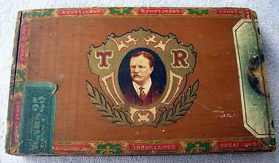 Original 1915 TEDDY ROOSEVELT Wooden Cigar Box, The Real American,  Great Lakes