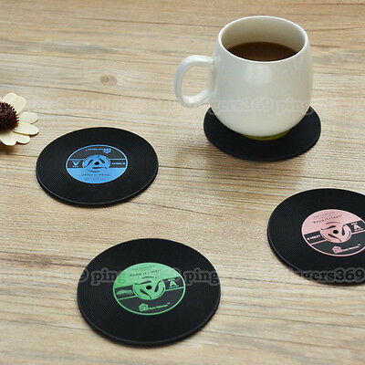 Set of 6 Retro Black Round CD Record Vinyl Coffee Table Drinks Cup Mat Coasters