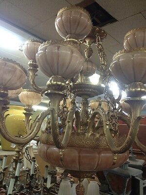 Amazing Bronze And Alabaster Chandelier By RAYLO Italy Huge 5'X 4'