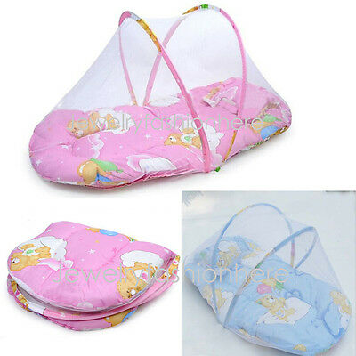 Baby Foldable Crib Tent Bed Mosquito Net Warm Cotton Blends Mattress Pillow HG