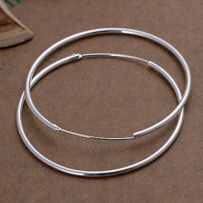 925 Sterling Silver Hoop Pierced Earrings L102
