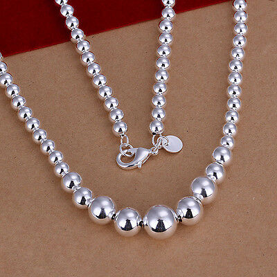 Women's Unisex 925 Sterling Silver Plated Necklace Hollow Beads Balls B93
