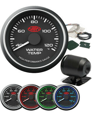SAAS Black Water Temp Gauge 52 mm Electrical multi color LED