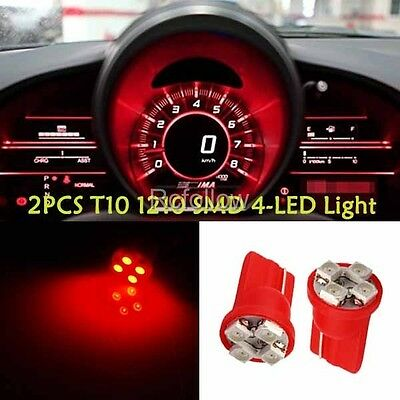 2pcs Red T10 1210 SMD 4 LED W5W Wedge Car Dashboard Instrument Panel Light Bulb