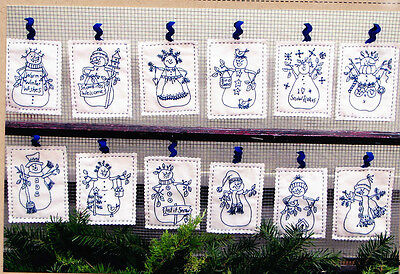 PATTERN - Snowmen by the Dozen - stitchery PATTERN - Bird Brain designs