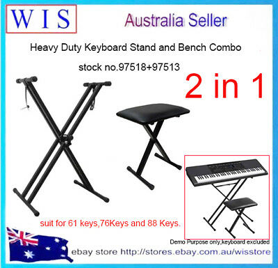 Adjustabe Padded Keyboard Bench w Double-Braced X-Style Keyboard Stand w Straps