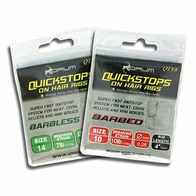 """Korum Quick Stop Hair Rigs 4"""" OR 15"""" BARBLESS all sizes quickstops"""