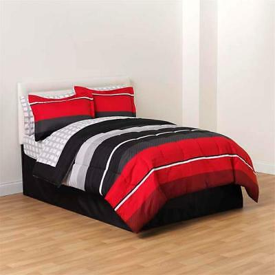 8-PC Complete Bedding Comforter Set Red Black White Striped King Queen Full Twin