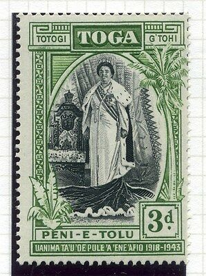 TONGA;  1944 early Silver Jubilee issue fine Mint hinged value 3d.