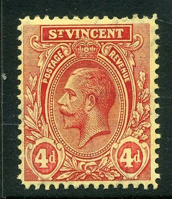 ST.VINCENT;   1913 early GV issue fine Mint hinged value  4d.