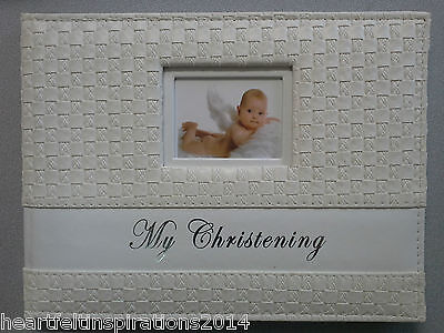 Christening/Baptism/Baby Gift My Christening Soft Leatherette Rattan Guest Book