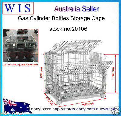 6 Forklift Gas Bottles Storage Cage,Gas Cylinder Cage with Lockable Lid-20106