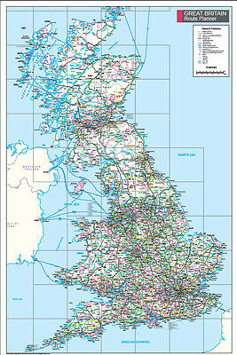 Great Britain Route Planner Map - Wall Map Of Great Britain