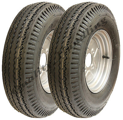 2 - 5.00-10 trailer wheels 4 ply high speed road legal 355kgs 500x10 72N (pair)