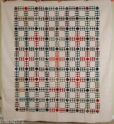 AMAZING 1880's Postage Stamp Chain Antique Quilt ~GORGEOUS VINTAGE FABRICS!