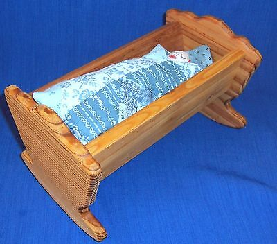 """OOAK Handmade Primative Style Red Cloth Doll w Blue Quilt Wood Cradle 8.5"""" L"""