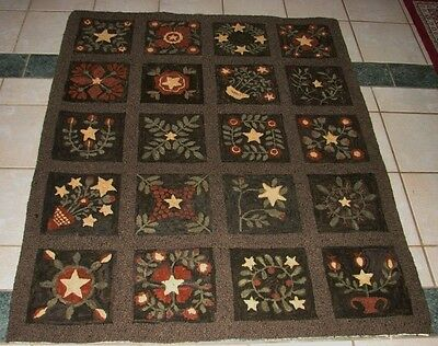 "Primitive Hooked Rug Pattern On Linen ""amazing Stars And Flowers Quilt Rug"""