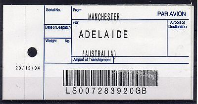 GB / AUSTRALIA, 1994 AIR MAIL Bag Label, MANCHESTER to ADELAIDE. (20/12/94)