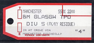 GB = 1994 Bag Label, MANCHESTER to BM GLASGOW T.P.O. (DIV 5 - FK/KY RESIDUE)