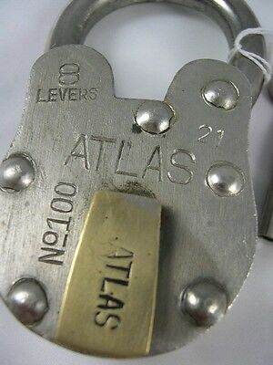 Large Steel Antique Replica Atlas Padlock & 2 Keys Padlocks Vintage Reproduction