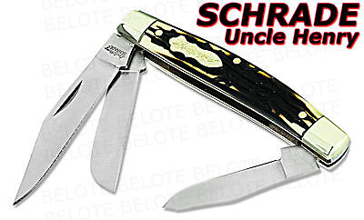 Schrade Uncle Henry Rancher 3-Blade Staglon Knife 834UH