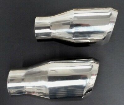 Polished Stainless Double Wall 2 Each Very Nice Exhaust Tips Great F/ Muscle Car